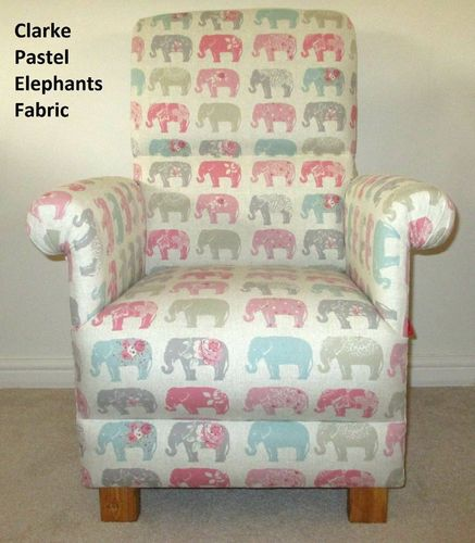 Clarke Elephants Pastel Fabric Adult Chair Pink Animals Blue Nursery Bedroom Armchair Patchwork