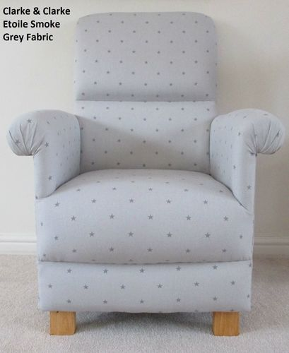 Clarke Etoile Fabric Adult Chair Stars Smoke Grey Nursery Bedroom Kitchen Lounge Armchair Dark