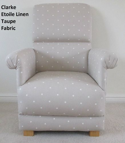 Clarke Etoile Linen Fabric Adult Chair Stars Nursery Taupe Beige Armchair Nursing Accent Bespoke