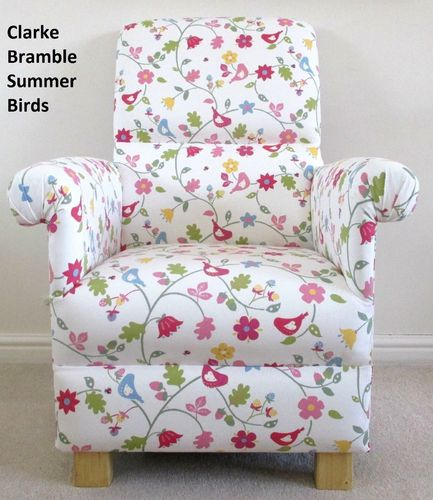 Accent Armchair Clarke Bramble Summer Birds Fabric Adult Chair Nursery Shabby Chic Floral Pink