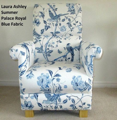 Laura Ashley Summer Palace Fabric Adult Chair Royal Blue White Birds Accent Armchair Floral Flowers