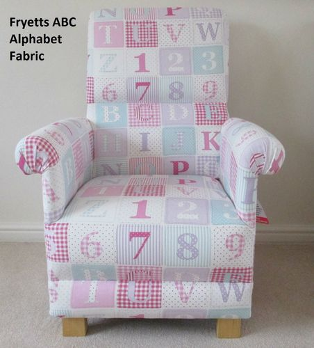 Fryetts Alphabet Fabric Adult Chair ABC Nursery Pink Patchwork Nursing Armchair Bedroom