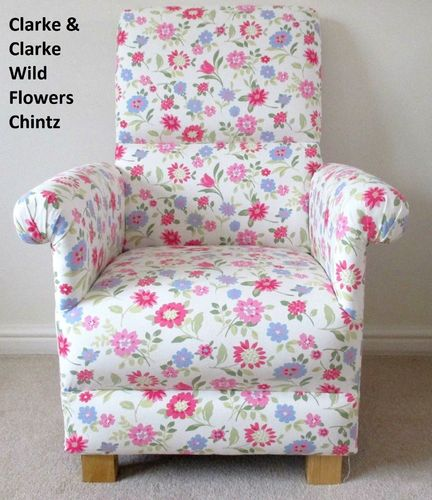 Clarke Wild Flowers Fabric Adult Chair Chintz Floral Nursery Kitchen Bespoke Pink Lilac Armchair