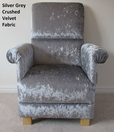 Silver Grey Crushed Velvet Fabric Adult Chair Bespoke Armchair Grey Bedroom Lounge Designer Handmade