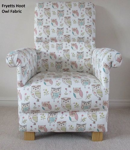 Fryetts Hoot Owl Fabric Adult Chair Nursery Woodland Animals Sage Bespoke Armchair Nursing