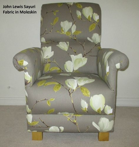 John Lewis Sayuri Fabric Adult Chair Taupe Moleskin Floral Cream Bespoke Armchair Accent Living Room