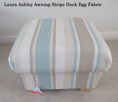 Laura Ashley Awning Stripe Duck Egg Fabric Footstool Footstall Pouffe Green Cream
