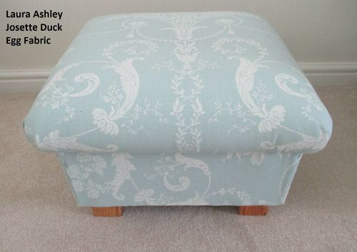 Laura Ashley Josette Fabric Footstool Duck Egg Green Footstall Shabby Chic Pouffe