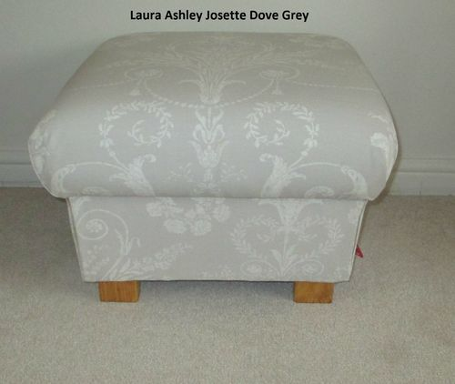 Laura Ashley Josette Dove Grey Fabric Footstool Dressing Table Stool Footstall Pouffe
