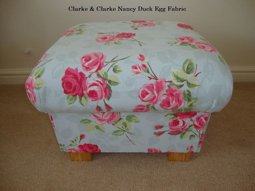 Clarke & Clarke Nancy Duck Egg Fabric Footstool Footstall Pink Floral Green Pouffe Shabby Chic