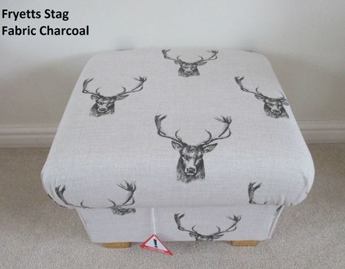 Fryetts Stag Head Fabric Footstool Grey Charcoal Animals Footstall Pouffe Nursery