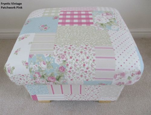 Fryetts Vintage Patchwork Pink Fabric Footstool Shabby Chic Footstall Gingham Floral Spots