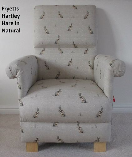Fryetts Hartley Hare Fabric Adult Chair Nursery Animals Natural Beige Armchair Rabbits