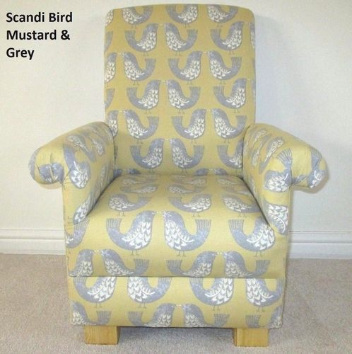 iliv Scandi Birds Fabric Child's Chair Kids Armchair Mustard Grey Nursery Bedroom Lounge