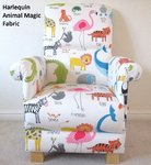 Harlequin Scion Animal Magic Fabric Adult Armchair Nursery Chair Whale Lions Tigers Giraffes Nursing