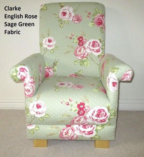 Clarke English Rose Fabric Child's Chair Sage Green Pink Floral Kid's Armchair Flowers Bedroom