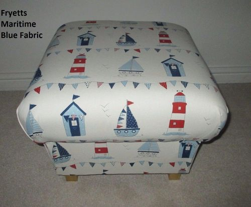 Fryetts Maritime Boats Fabric Footstool Blue Red White Ships Nautical Seaside Footstall