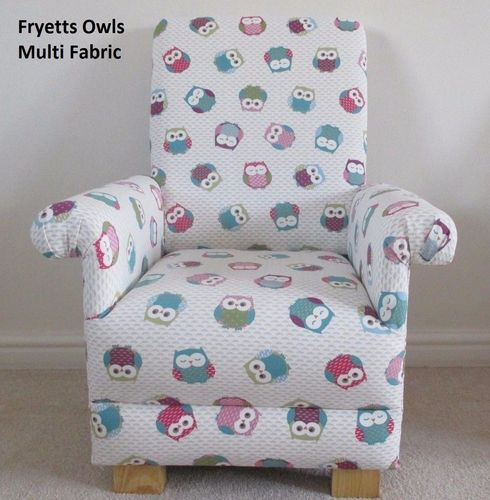 Fryetts Owls Fabric Child's Chair Kid's Armchair Nursery Animals Birds Owls Bedroom