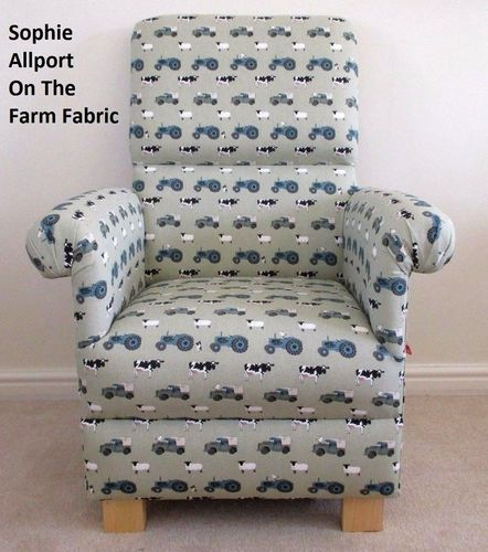 Sophie Allport On The Farm Fabric Adult Chair Green Farm Animals Sheep Cows Armchair Farmyard