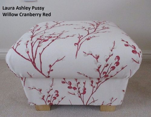 Laura Ashley Pussy Willow Cranberry Fabric Footstool Footstall Pouffe Red Cream Floral Linen