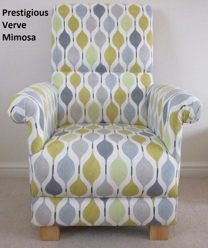 Prestigious Verve Mimosa Fabric Adult Chair Grey Mustard Armchair Nursery Accent Retro Style