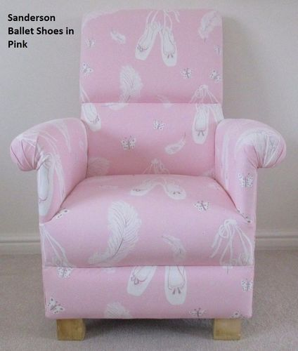 Sanderson Ballet Pink Fabric Adult Chair Nursery Shoes Ballerina Armchair Bedroom