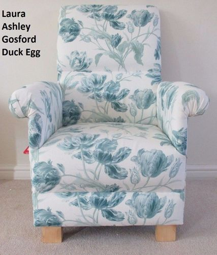 Laura Ashley Gosford Duck Egg Fabric Adult Chair Blue Green Floral Flowers Nursery Bespoke Bedroom