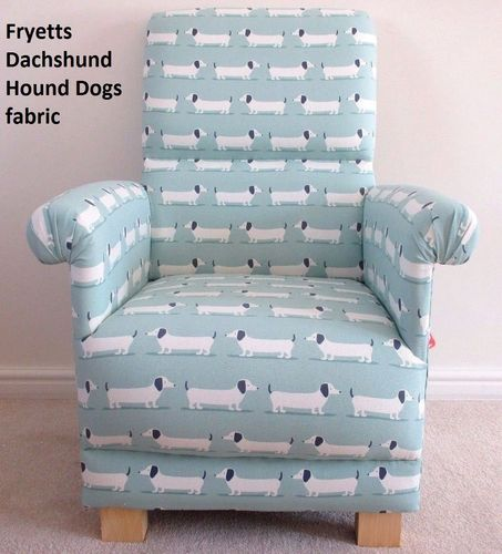 Fryetts Dachshunds Hound Dogs Fabric Adult Chair Duck Egg Armchair Nursery Puppies Bedroom Dog