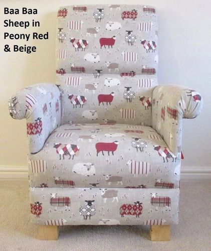 Baa Baa Sheep Fabric Adult Chair Lambs Red Beige Peony Patchwork Kitchen Armchair Nursery Animals