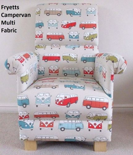 Fryetts VW Campervan Fabric Adult Chair Multi Cars Vans Nursery Armchair Volkswagon Blue Orange