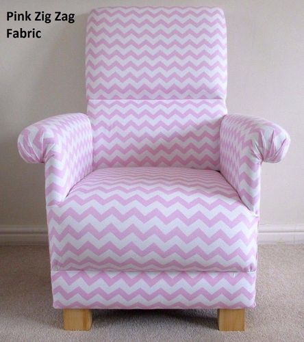Pink Zig Zag Fabric Adult Chair Chevron Armchair Nursery White Bespoke Girl's
