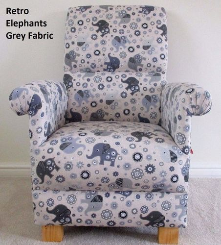 Grey Retro Elephants Fabric Adult Chair Patchwork Floral Armchair Bespoke Nursery Bedroom Animals