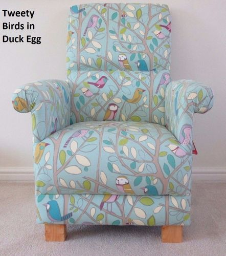 Tweety Birds Fabric Adult Chair Duck Egg Armchair Nursery Nursing Bird Bedroom