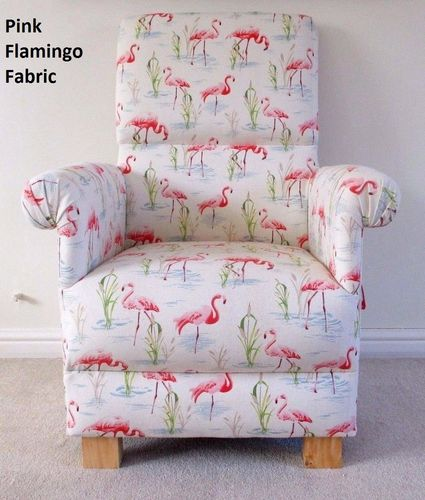 Pink Flamingos Fabric Adult Chair Armchair Nursery Birds Bedroom Occasional Nursing
