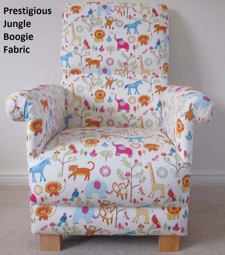 Jungle Boogie Fabric Adult Chair Armchair Lions Animals Zoo Elephants Hippo Nursery Accent
