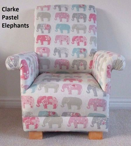 Clarke Pastel Elephants Child's Chair Armchair Grey Kid's Pink Patchwork Nursery Bedroom