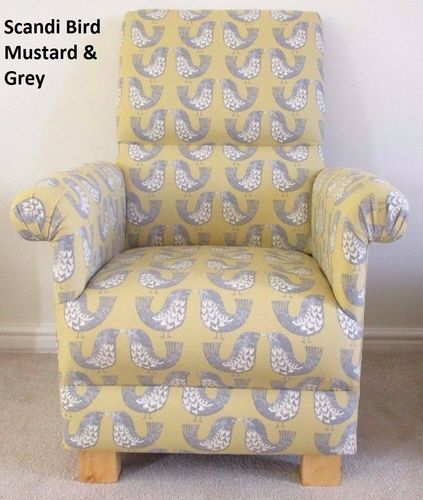 Scandi Birds Fabric Adult Chair Armchair Nursery Grey Mustard Bird Accent Bespoke Handcrafted