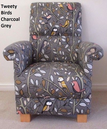 Edinburgh Weavers Tweety Birds Fabric Adult Chair Nursery Charcoal Grey Bird Nursing Armchair
