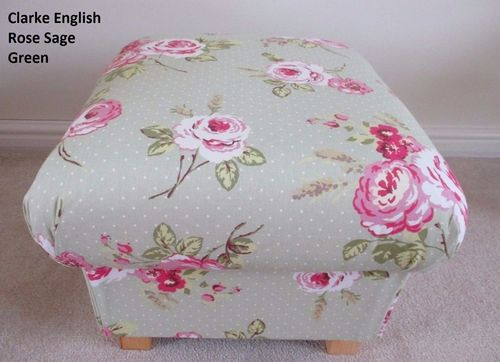 Clarke & Clarke English Rose Sage Green Fabric Footstool Shabby Chic Pouffe Bespoke Pink Floral