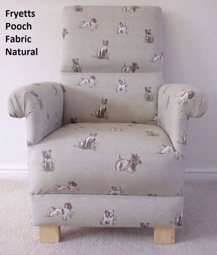 Fryetts Pooch Natural Fabric Adult Chair Armchair Nursery Dogs Pups Beige Bulldogs Terriers Spaniels