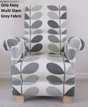 Orla Kiely Multi Stem Grey Fabric Adult Chair Armchair Nursery Bedroom Kitchen Accent Designer