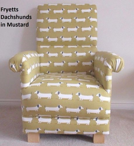Fryetts Hound Dogs Fabric Adult Chair Armchair Dachshunds Mustard Puppies Nursery