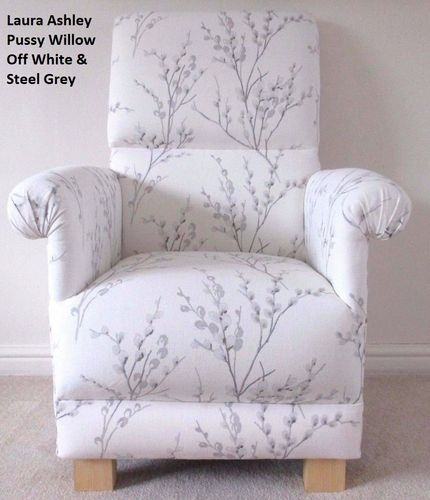 Laura Ashley Pussy Willow Fabric Adult Chair Armchair Off White & Steel Grey Nursing