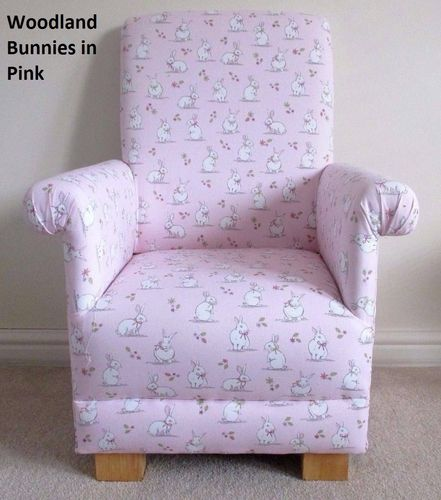 Pink Bunnies Fabric Child's Chair Kid's Armchair Rabbits Girl's Rabbits Bedroom Nursery
