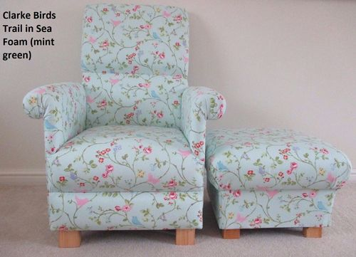 Clarke Birds Trail Fabric Adult Chair & Footstool Green Pink Floral Shabby Chic Nursery Armchair