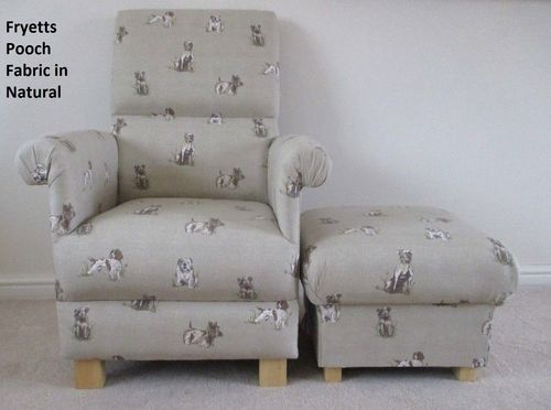 Fryetts Pooch Fabric Adult Chair & Footstool Armchair Natural Dogs Bulldog Terrier Spaniel Beige