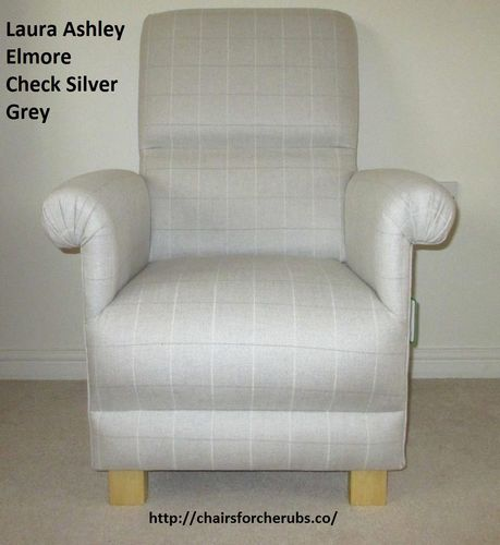 Laura Ashley Elmore Check Silver Fabric Adult Chair Armchair Nursery Grey Bedroom Nursing Checked