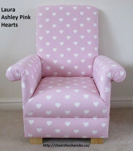 Laura Ashley Pink Hearts Fabric Child's Chair Kid's Armchair Dusky Nursery Bedroom