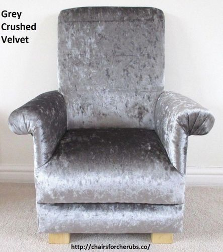 Silver Grey Crushed Velvet Fabric Child's Chair Kid's Armchair Nursery Bedroom Playroom Designer