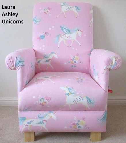 Laura Ashley Unicorns Fabric Child's Chair Girls Armchair Pink Flying Winged Horned Magical